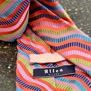 Altea Milano Multi-Color Abstract Stripes Silk Tie